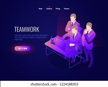 Teamwork icon isometry, collective discussion, project discussion, startup, business management, office workplace, brainstorming dark neon vector