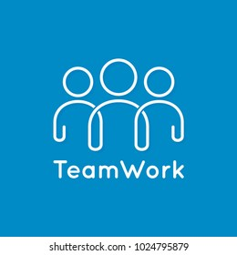 teamwork icon line business concept on blue background