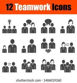Teamwork Icon Set. Fully editable vector illustration. Text expanded.