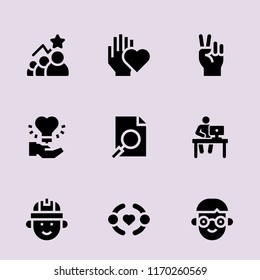 teamwork icon set. selection,hand,workplace,analysis concept. Modernteamwork icons. filled style bestseller of teamwork illustrations.