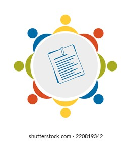 teamwork icon - symbol of teambulding, documents, resume, meeting and communication