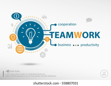 Teamwork idea and marketing concept. Project for web banner and creative process.