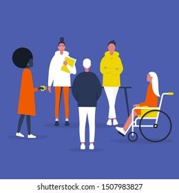 Teamwork. Inclusive society. Office meeting. Modern company. Diversity. Flat editable vector illustration, clip art