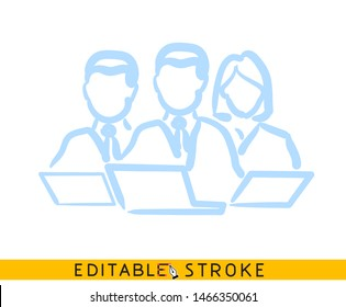 Teamwork leader icon. Line doodle sketch. Editable stroke icon.