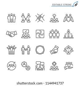 Teamwork line icons. Editable stroke. Pixel perfect.