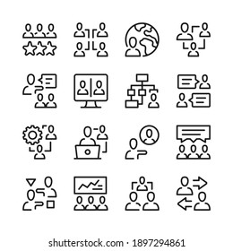 Teamwork line icons set. Modern graphic design concepts, simple outline elements collection. Vector line icons