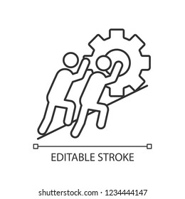 Teamwork linear icon. Team. Thin line illustration. Partnership. Two businessmen pushing cogwheel up. Join efforts. Contour symbol. Vector isolated outline drawing. Editable stroke