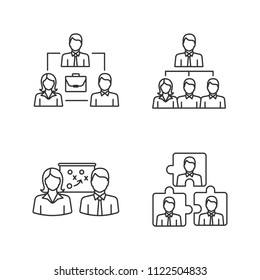 Teamwork linear icons set. Partnership, professional hierarchy, business strategy, personnel interaction. Thin line contour symbols. Isolated vector outline illustrations