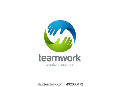 Teamwork Logo abstract two Hands helping. Circle design vector template. Friendship Partnership Support Team work Business Logotype icon.