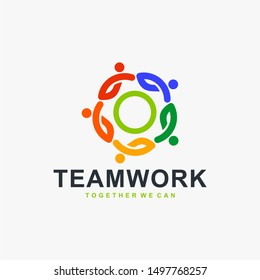 Teamwork logo design vector. People community icon design. Humanity logo concept. Full colors logo design.