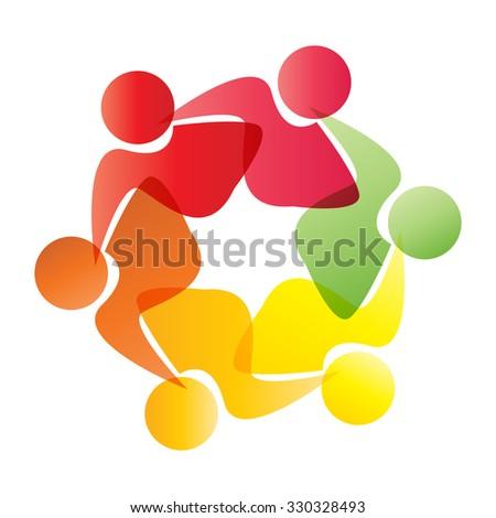 Teamwork Logo Round Circle Communityworkersfriendship Women Stock