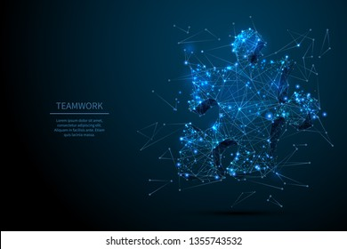 Teamwork low poly wireframe concept. Puzzle vector art. Polygonal wireframe puzzle piece sign with starry sky style on dark blue with dots, stars. Abstract 3d image.