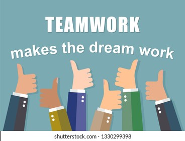 Teamwork makes the dream work - inscription. Business vector background.