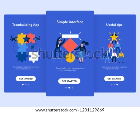 Teamwork Mobile Screen Set Interface Tips Stock Vector