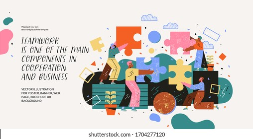 Teamwork. Modern vector illustration of people assembling a puzzle. Drawing business, marketing, finance and cooperation for website, poster, web page or booklet