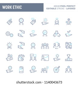 Teamwork, morality, proficiency, optimism and empathy  - simple outline icon set. Editable strokes and Layered (each icon is on its own layer with proper name) to enhance your design workflow.
