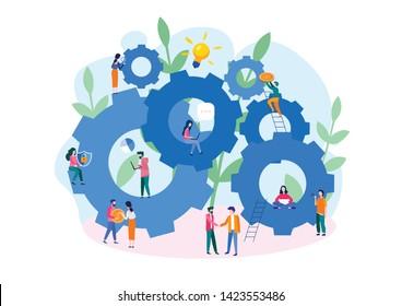 Teamwork on performance business concept, brainstorming, Team metaphor. Vector illustration flat design. Successful people work together. Symbol of teamwork, partnership, big company, cooperation,