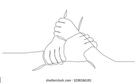 Teamwork One line drawing