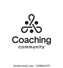 Teamwork People Coaching Link Connection Community Logo Design Template