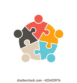 Teamwork People five puzzle pieces. Vector graphic design illustration