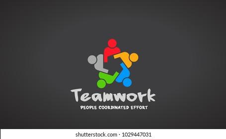 Teamwork People Logo. Vector Design Illustration