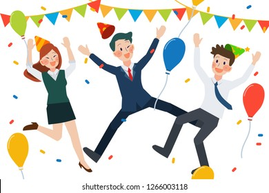 teamwork people person character cartoon salaryman business hat celebration birthday  christmas newyear party happy joy holiday succes laughing