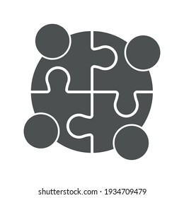 Teamwork People puzzle pieces. Vector graphics on a white background.
