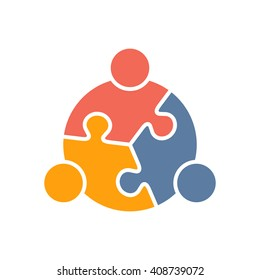 Teamwork People puzzle three pieces. Vector graphic design illustration