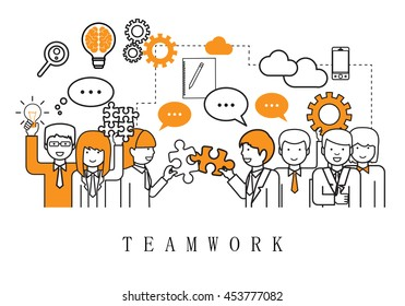Teamwork, People Team - On White Background - Vector Illustration, Graphic Design. For Web, Websites, Magazine Page, Print Materials