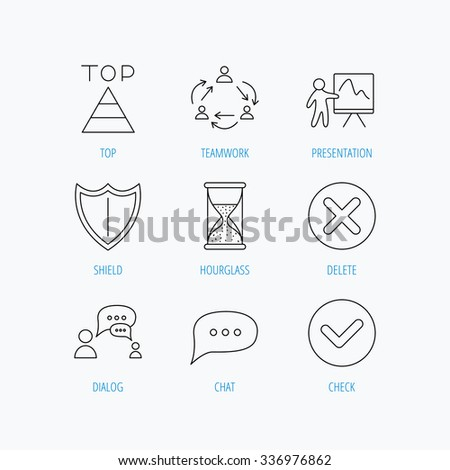 teamwork presentation dialog icons chat speech stock vector royalty
