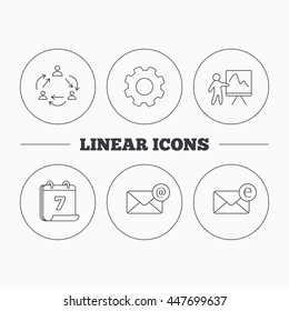 Teamwork, presentation and e-mail icons. E-mail inbox linear sign. Flat cogwheel and calendar symbols. Linear icons in circle buttons. Vector