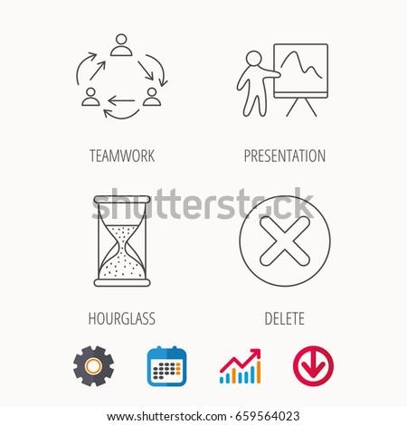 teamwork presentation hourglass icons delete remove stock vector