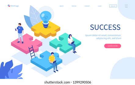 Teamwork with puzzle concept. Can use for web banner, infographics, hero images. Flat isometric vector illustration isolated on white background.