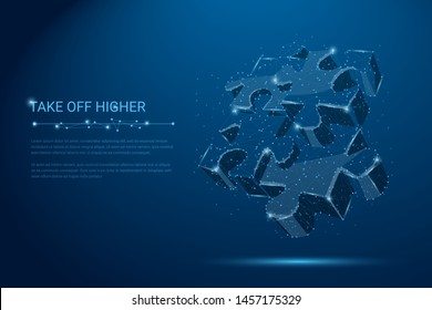 Teamwork. Puzzle elements. Team metaphor. Symbol of teamwork, cooperation, partnership, association and connection. Low polygonal puzzle pieces. Business concept of of connecting. Vector Illustration.