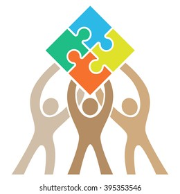 Teamwork Puzzle Logo