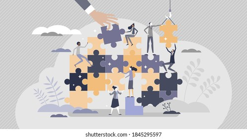 Teamwork puzzle as partnership work assistance tiny person concept. Team unity help for project challenges vector illustration. Bonding colleagues assemble solutions together as effective job.