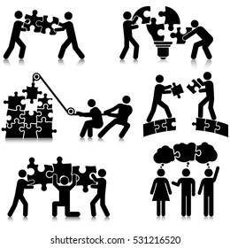 Teamwork Puzzle Solving Icon Set