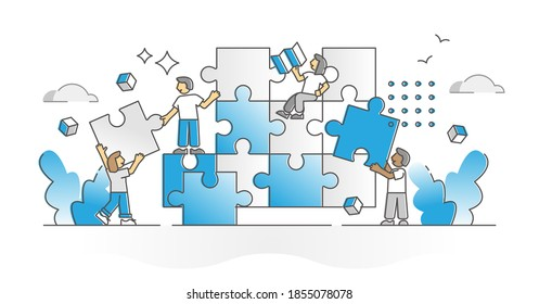Teamwork puzzle with team assistance, help and support monocolor outline concept. Project tasks and duties partnership as pieces assemble with division of labor for effective work vector illustration.