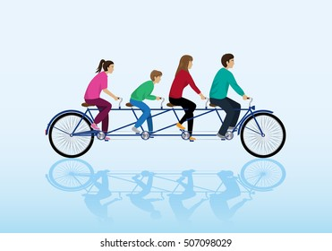 Teamwork  Riding Bicycle. Vector Illustration, Graphic Design. For Web, Websites, App, Print, Presentation Templates, Mobile Applications, Promotional Materials