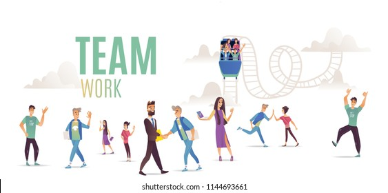 Teamwork set with team riding together on roller coaster and smiling successful people waving hands and showing okay gesture isolated on white background in vector illustration.