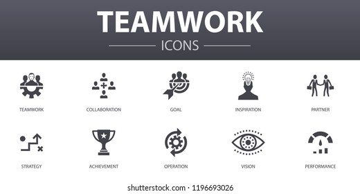 Teamwork simple concept icons set. Contains such icons as collaboration, goal, strategy, performance and more, can be used for web, logo, UI/UX