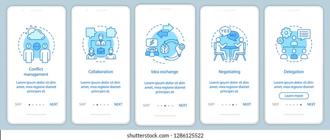 Teamwork skills and qualities onboarding mobile app page screen vector template. Employment walkthrough website steps. Negotiating, delegation, collaboration. UX, UI, GUI smartphone interface concept