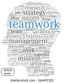 Teamwork and strategy vector concept in word tag cloud