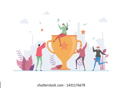 Teamwork Success Achievement Vector Illustration Concept Showing A Company Team Enjoying A Big Award Trophy, Suitable for landing page, ui, web, mobile app intro card, editorial, flyer, and banner