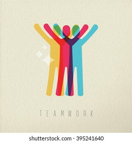 Teamwork success concept, business people silhouette on texture background. EPS10 vector.