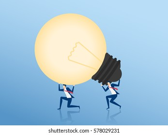Teamwork to success concept. Businessman Cooperate carrying big light bulb idea. Cartoon Vector Illustration.