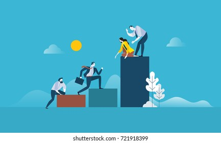 Teamwork success. Flat design business people concept. Vector illustration concept for web banner, business presentation, advertising material.