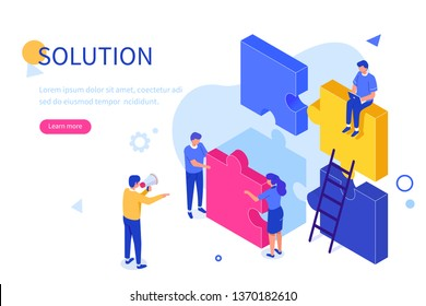 Teamwork success with puzzle concept. Can use for web banner, infographics, hero images. Flat isometric vector illustration isolated on white background.