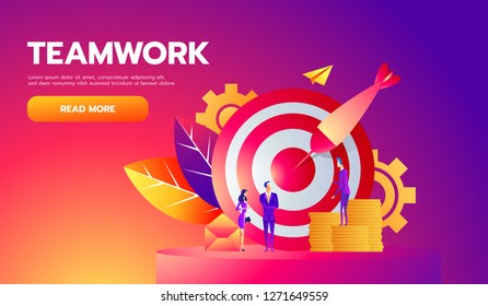 Teamwork, successful goal isometric concept. Target and arrow. Vector illustration