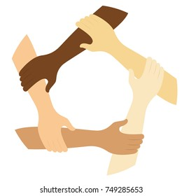 teamwork symbol ring of hands flat design icon